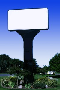 Blank white outdoor sign